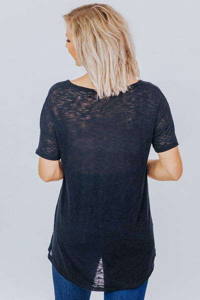 Graceful Rustic T Shirt V Neck Short Sleeve in Black - Filly Flair