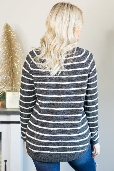 Always Be Free Striped Long Sleeve Top in Charcoal - Filly Flair