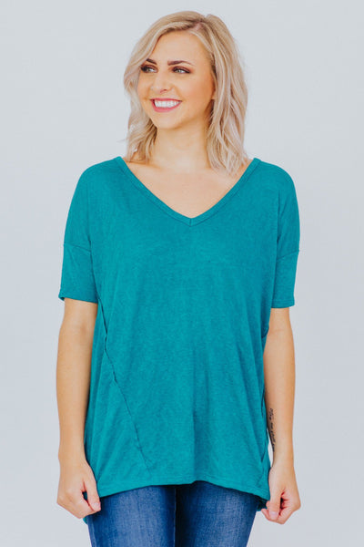 Graceful Rustic T Shirt V Neck Short Sleeve in Jade - Filly Flair