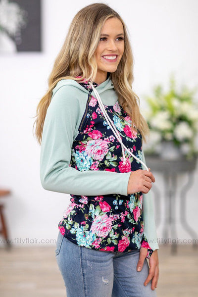 Take Me As I Am Floral Double Hoodie in Mint Navy - Filly Flair
