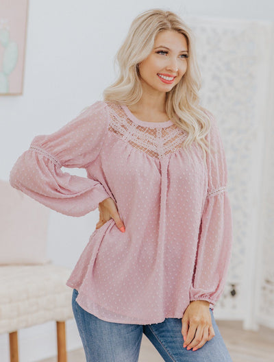 Walking On Sunshine Lace Chiffon Long Sleeve Top in Mauve - Filly Flair