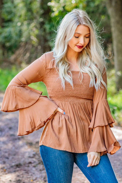 Classic Woman Smocking Ruffle Long Sleeve Top in Carmel Brown - Filly Flair