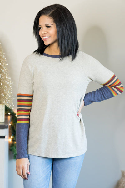 Get Things Started Striped Detail Long Sleeve Top in Oatmeal - Filly Flair