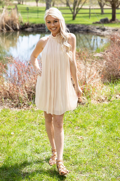 Still On My Mind Pleated High Neck Dress in Ivory - Filly Flair