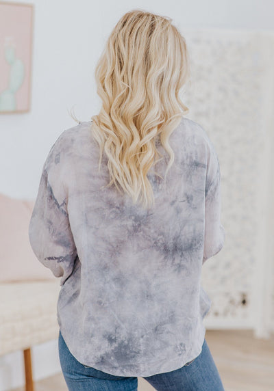 Find Our Direction Tie Dye Crochet Detail Long Sleeve Top in Slate Blue - Filly Flair