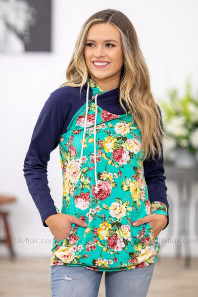 Say Hello Floral Double Hoodie in Turquoise Navy - Filly Flair
