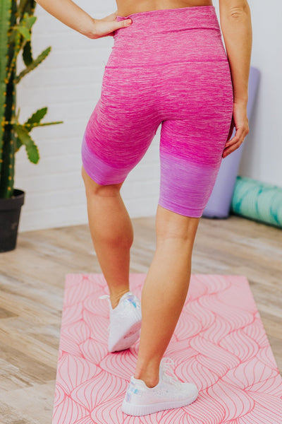 Here You Come Tie Dye Ombre Athletic Biker Shorts in Fuchsia - Filly Flair