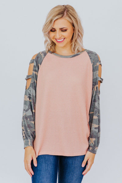Let's Be Honest Camo Print Cut Out Long Sleeve Top in Mauve - Filly Flair