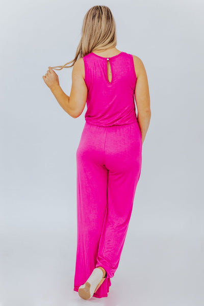 Jump for Joy Sleeveless Pocket Jumpsuit in Pink - Filly Flair