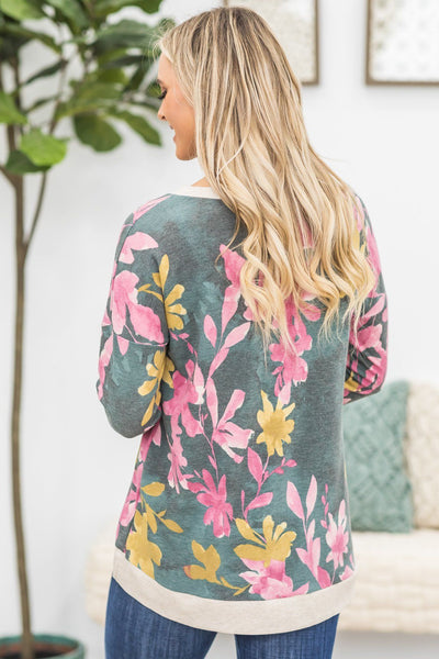 Finding The Right One Floral Long Sleeve Top in Fuchsia - Filly Flair