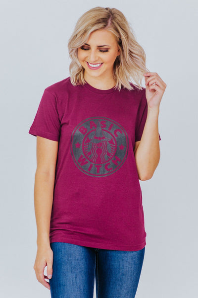 Basic Witch Short Sleeve Top in Burgundy - Filly Flair
