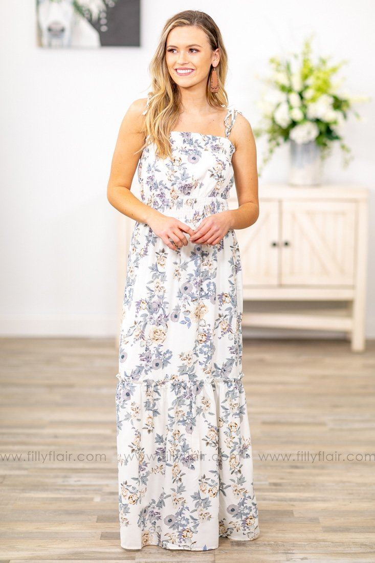 d15d9c166d9 Dreaming Over You Tie Strap Floral Maxi Dress in Ivory - Filly Flair