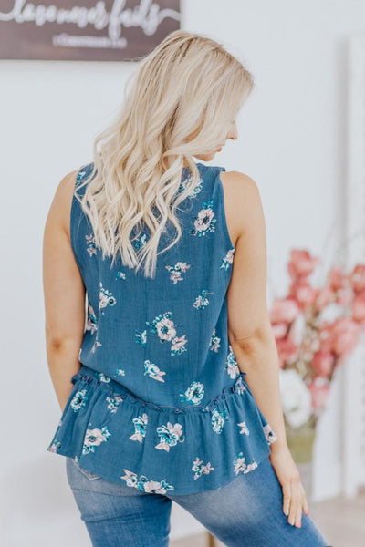 Good Gardening Floral High Low Ruffle Hem Swoop Neck Sleeveless Top in Denim - Filly Flair