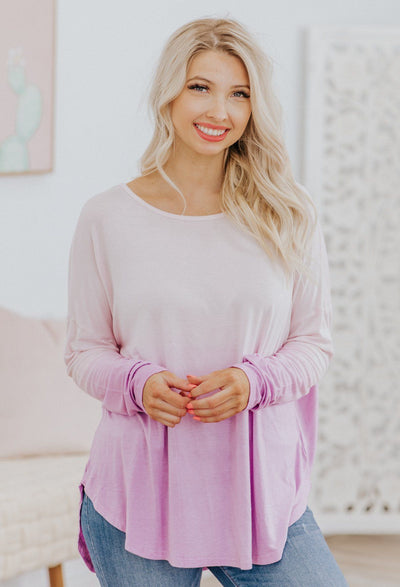 Come As You Are Long Sleeve Top in Lavender - Filly Flair