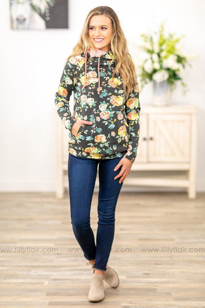 Coming Up Roses Ampersand Double Hooded Sweatshirt in Heathered Black - Filly Flair