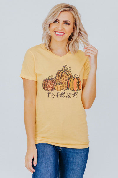 """It's Fall Yall"" Pumpkin Print Short Sleeve Top in Light Gold - Filly Flair"