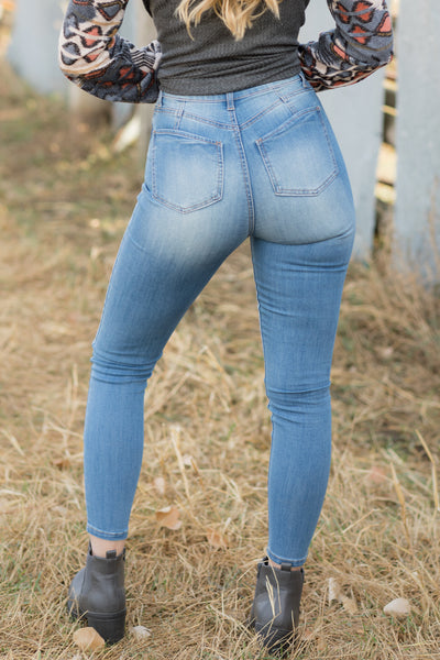 Wishes In The Well Curvy Hi-Rise Skinny Light Wash Jean - Filly Flair