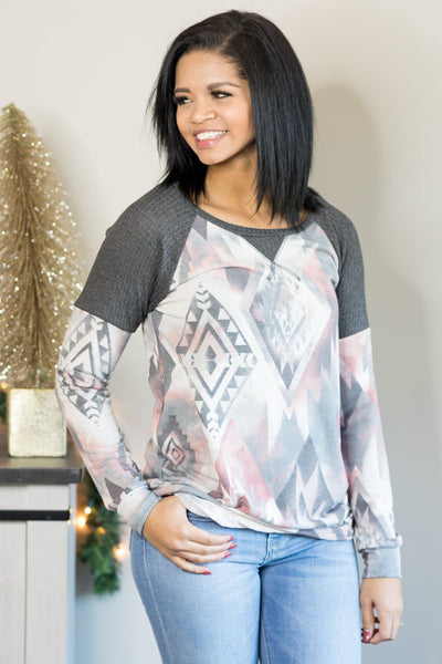 Don't Forget About It Aztec Print Long Sleeve Top in Charcoal - Filly Flair