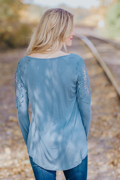 Always On The Move Lace Button Down Long Sleeve Top in Cement - Filly Flair
