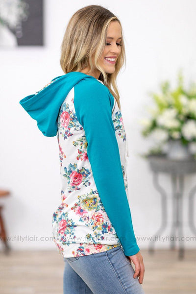 Nice Surprise Floral Double Hoodie in Teal White - Filly Flair