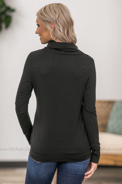 Waiting For You Long Sleeve Gathered Neck Button Detail Top in Black - Filly Flair