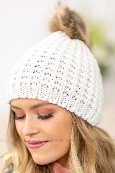 Chunky Cable Knit Pom Pom Beanie In Ivory - Filly Flair