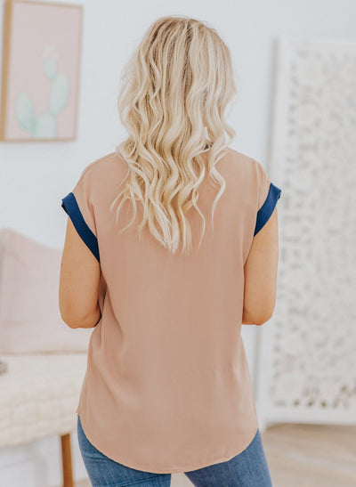 Always Be Strong Short Sleeve Top in Taupe - Filly Flair