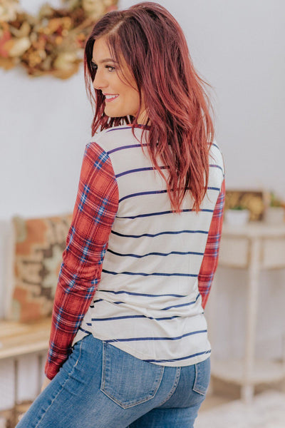 *DEAL* You're Not Alone Plaid Stripe Long Sleeve Top in Red - Filly Flair