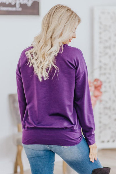 Come Snuggle Overlap Hem Long Sleeve Sweater in Dark Purple - Filly Flair