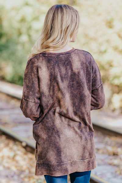 Out Of Control Mineral Wash Long Sleeve Top in Americano - Filly Flair