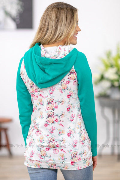Here For You Floral Double Hoodie in Jade White - Filly Flair