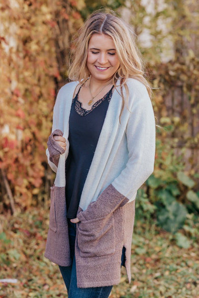 Be Fierce Color Block Cardigan Sweater Long Sleeve Pockets in - Filly Flair