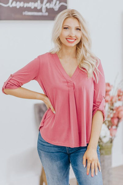 Beautiful Stranger V Neck Roll Up 3/4 Sleeve Top in Mauve - Filly Flair
