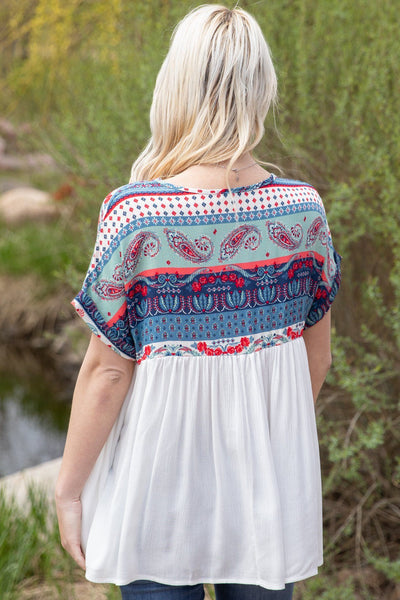 Wishing They Were Me Short Sleeve Paisley V-Neck Top in White - Filly Flair