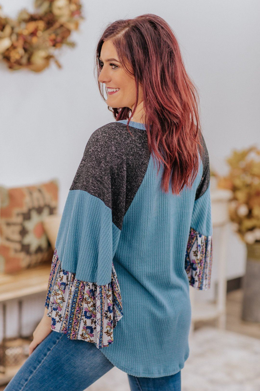*DEAL* Look Over Your Shoulder Waffle Ruffle Bell Long Sleeve Top in Light Denim Blue