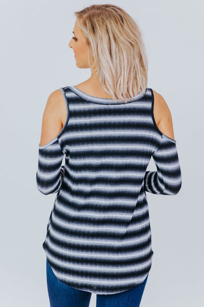 Heart Of A Champion Cold Shoulder Top in Black - Filly Flair