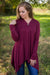 Yours Forever One Button Long Sleeve Cardigan in Burgundy