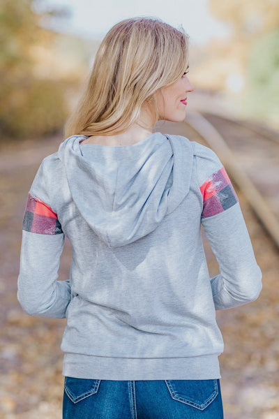 Endless Autumn Plaid Distressed Long Sleeve Hoodie w/ Strings in Heathered Grey - Filly Flair