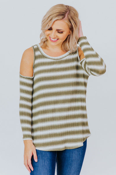 Heart Of A Champion Cold Shoulder Top in Olive - Filly Flair