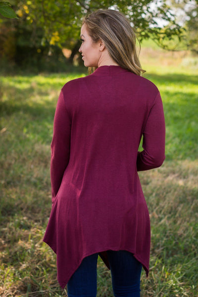 Yours Forever One Button Long Sleeve Cardigan in Burgundy - Filly Flair