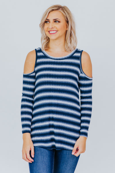 Heart Of A Champion Cold Shoulder Top in Navy - Filly Flair