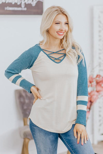 Make It Count Waffle Varsity Stripe Criss Cross Neck Top in Vintage Teal - Filly Flair