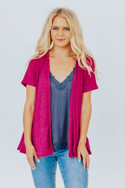 I'm Better With You Open Front Short Sleeve Cardigan in Marsala - Filly Flair