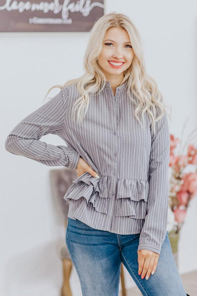 Try & Work It Out Striped Ruffle Button Down Long Sleeve Top in Grey - Filly Flair