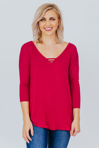 Game Plan V Neck Top in Dark Burgundy - Filly Flair