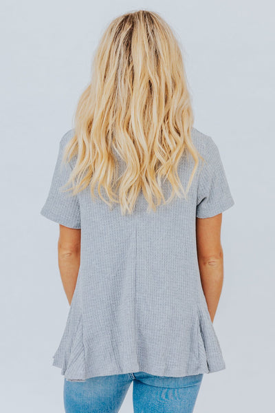 I'm Better With You Open Front Short Sleeve Cardigan in Grey - Filly Flair