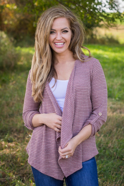 Everything I Know Waffle Knit Cardigan in Mauve - Filly Flair