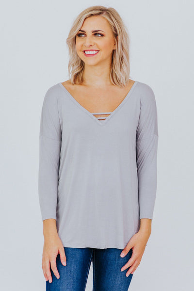 Game Plan V Neck Top in Silver - Filly Flair