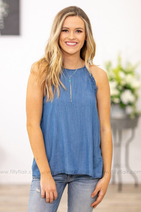 Beautiful Girl Ruffle Trim Tank Top in Denim Blue - Filly Flair