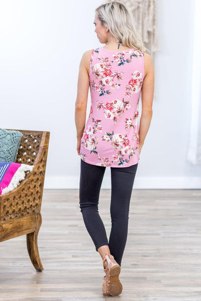Get With It Floral Sequin Pocket Tank Top in Pink - Filly Flair